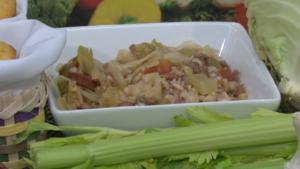 Bowl of cabbage jambalaya