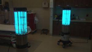 UV light sanitation devices inside a hospital room