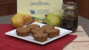 sorghum gingerbread pear muffins on a plate